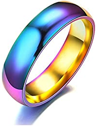 6mm Rainbow Reflection Colorful Stainless Steel True Love Wedding Band Engagement Ring Size6-13