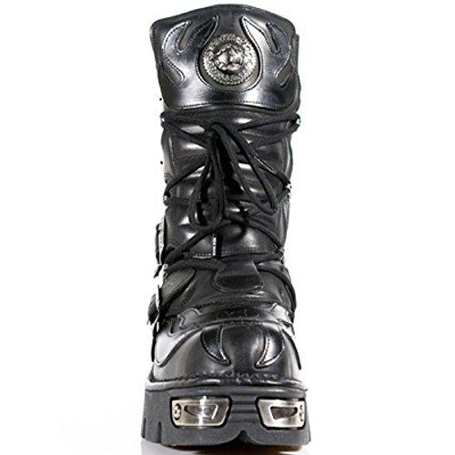 Leder Schwarz 107 Rock Stiefel Schwarz M S3 New BnWxPn