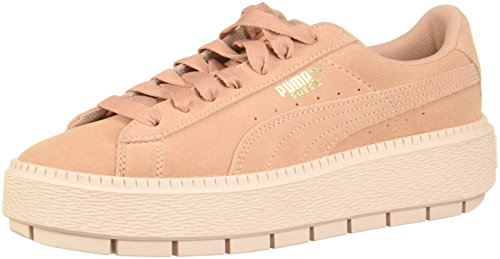 PUMA Women's Suede Platform Trace Sneakers Peach Beige/Pearl
