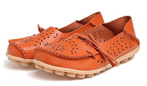 VenusCelia Damen Atmungsaktiver Walking Flat Loafer Orange / Tangerine