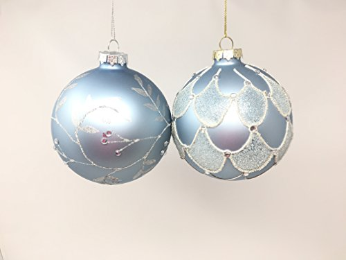 RAZ Imports - Glittered Pale Blue Glass Ball Ornaments - Set of 2