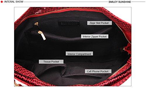 Tassel Bag Tote Serpentine Hobo Big Women Leather Red xIqqwgX1