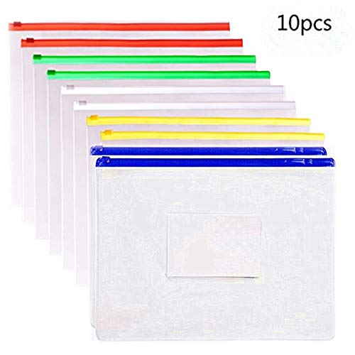 10 Pack Clear Plastic Poly Envelope Folder File Folder Bags, Letter Size, 5 Color Zippers