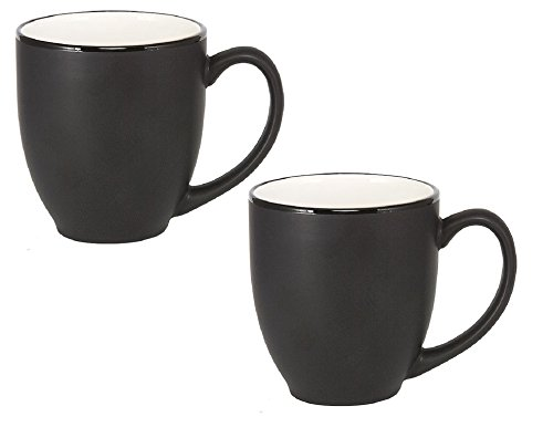 White 16 Ounce Mug (Bistro Ceramic Large Coffee & Tea Mug Matte Black w/ White Interior, 16 ounce (Pack of 2))