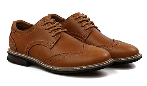 Up Cuff Casual Retro Leather TDA Low Classic Carve Shoes Men's Lace Business Bronze TYIwEqz