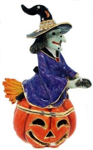 Witch On Jack O Lantern Halloween Bejeweled Jeweled Trinket Box ()