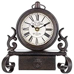 Bronze Metal Table Clock with Drawer