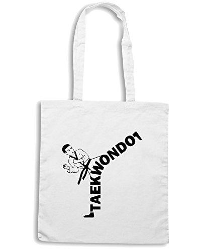 T-Shirtshock - Bolsa para la compra TAM0174 taekwondo kicker hooded sweatshirt Blanco