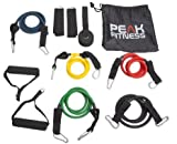 Peak Fitness Resistance Band Set with Door Anchor, Ankle Strap, Exercise Chart, and Carrying Case – 100% Satisfaction – NO RISK. Full Free 60 Day Money Back Guarantee