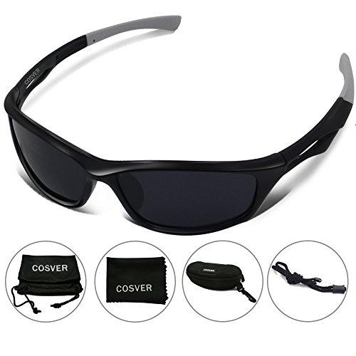 COSVER Polarized Sports Sunglasses for Men Women Cycling Running Driving Fishing Golf Baseball Glasses (black&gray, - Sunglasses Headache Polarized