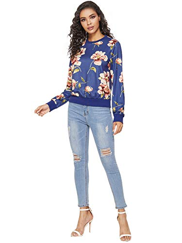 ROMWE Women's Casual Floral Print Long Sleeve Pullover Tops Lightweight Sweatshirt