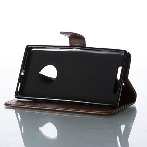 Funda Microsoft Nokia Lumia 830 OuDu Carcasa de Billetera Funda PU Cuero Carcasa Suave Protectora con Correas de Teléfono Funda Arbol Flip Wallet Case Cover Bumper Carcasa Flexible Ligero Ultra Delgad Caqui
