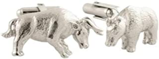 product image for David Donahue Men's Sterling Silver Bull and Bear Cufflinks (CL128402)