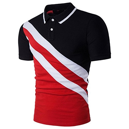 Hot Sale! Polo Short Sleeve T Shirt Top Blouse Fashion Personality Men's Casual Slim Patchwork