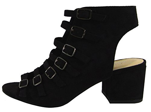 Toe Ankle Microsuede Black Heel Open Chunky Strappy Women's Bootie Buckle Classified Stacked City 1zCXpX
