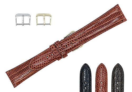 20mm Cognac Genuine Lizard - Padded Sewn Watch Strap Band - Gold & Silver Buckles Included – Factory Direct - Made in USA by Real Leather Creations FBA136 -