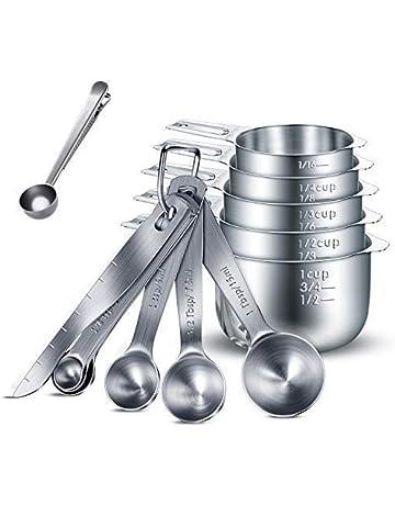 Henshow Juegos de cucharas medidoras, 13 Piezas Premium 304 de Acero Inoxidable Cuchara dosificadora/