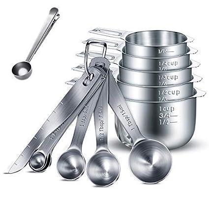 HENSHOW Juegos de cucharas medidoras, 13 Piezas Premium 304 de Acero Inoxidable Cuchara dosificadora/Taza medidora/Regla de medición para el ladrido ...