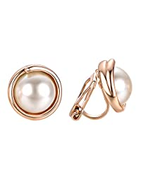 VOGEM Synthetic Ivory Pearl Earrings 18K Gold Plated Clip on Earrings No Pirced For Women Elegant Jewelry