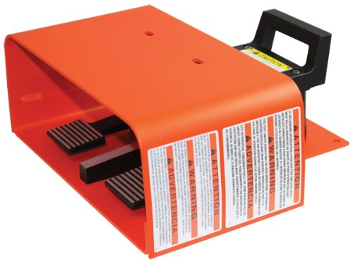 Linemaster 597-EX Explosion Proof Foot Switch, Electrical, 2-Pedal, Momentary, Full Aluminum Guard, Orange