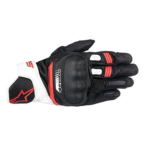 Alpinestars SP-5 Leather Glove Black/White/Red Large (More Size Options)