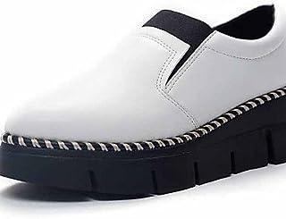 NJX/ hug Chaussures Femme-Extérieure / Bureau & Travail / Habillé / Décontracté-Noir / Blanc-Talon Bas-Confort-Plates-Cuir Verni black-us5 / eu35 / uk3 / cn34 MKJMK