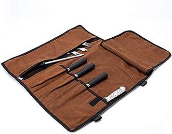 Rollo de Cuchillos del Chef, Bolsa de culinaria Enrollable de Lona Encerada de 5 Bolsillos, Estuche para Guardar Cubiertos, Funda de Cuchillos para cocinar, Camping HGJ601 (Brown): Amazon.es: Deportes y aire libre