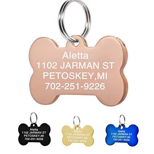 (Amlion Personalized Engraved Dog Tags, Custom Dog Cats Tags, Stainless Steel Pet Id Tags, Double-Sided Engraved, Bone, Rectangle, Round, Heart Shape(5 Colors) (Regular Bone, Rose Gold) )