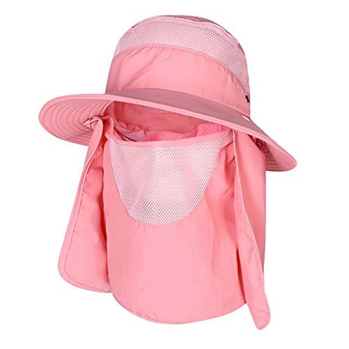 FEDULK Women Men Summer Fisherman Hat Outdoor Sun Protection Fishing Cap Neck Face Flap Wide Brim Hat(Pink)