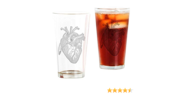 16 oz Black Pint Glass CafePress Anatomical Heart Drinking Glass