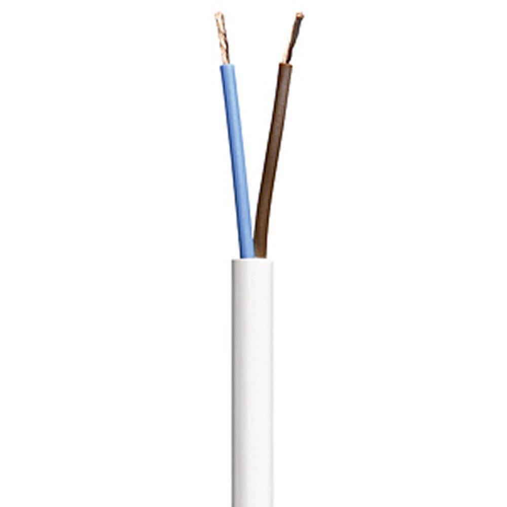 2 Core Round White Flex Flexible Cable 0.75 MM 2 metre Cut Length