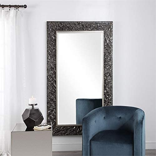 Uttermost Large Wall Mirror in Black and Silver