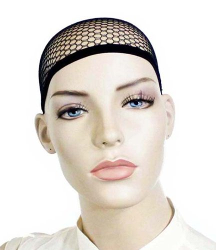 Net Wig Cap (NYKKOLA 3 Pack Open end Black Mesh Net Wig Cap Liner)