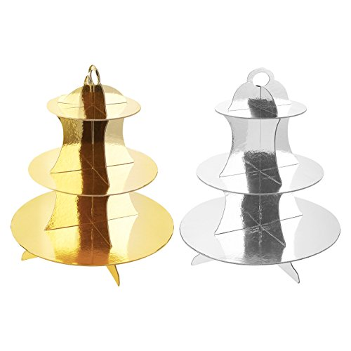 Cupcake Tower / Cardboard Cupcake Stands - 2 Pack - 3 Tier Dessert Cupcake Tree Display Stand – For Baby Showers, Weddings, Birthdays - Gold and Silver, 11.8 x 13.5 x 11.8 Inches