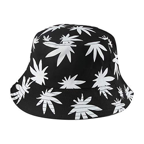 Chad Hope New Hip Hop Unisex Weed Leaves Print Fishing Cap Bucket Hat Outdoor Men Womens Black