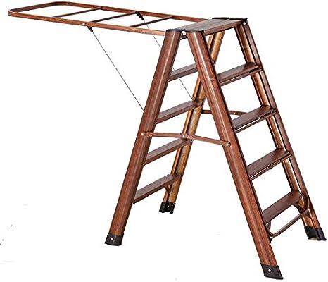 Dpliu Perchero Escalera Plegable de Aluminio, Estante Hogar Multifuncional Secado/Plegable de Cinco Pasos Espiga de Escalera Interior multifuncionales secar la Ropa (Color : Wood Grain): Amazon.es: Hogar