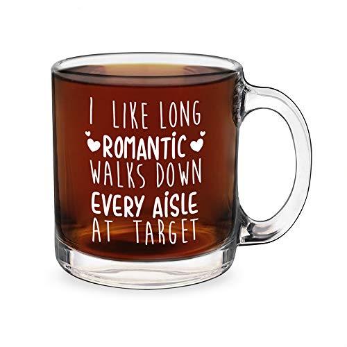 I Like Long Romantic Walks Down Every Aisle At Target - Funny Glass Double-Sided Coffee Tea Mug (Best Coffee At Target)