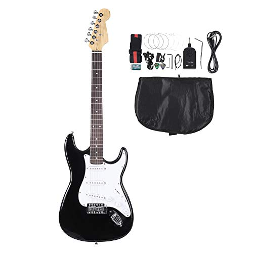 Electric Guitar, 39inch Full Size Solid Wood Electric 6 String Guitar with Tuner, Strings, Picks, Guitar Bag, Shoulder Strap Accessories for Beginners Starters