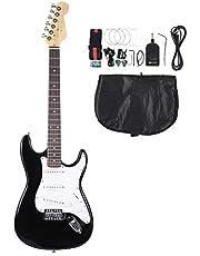 Set Guitare Electrique, 39'' Guitare Electrique Noir avec avec Tuner Médiator Corde Sangle Sac de Rangement