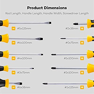 Magnetic Screwdriver Set 10 PCS, CREMAX Professional Cushion Grip 5 Phillips and 5 Flat Head Tips Screwdriver Non-Slip for Repair Home Improvement Craft: Home Improvement
