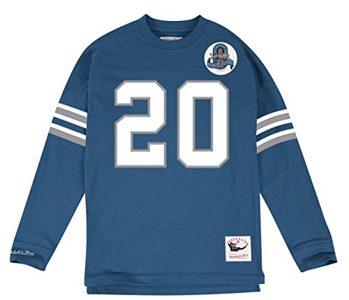 Barry Sanders Detroit Lions Mitchell & Ness Throwback Name & Number Long Sleeve T-Shirt - Blue (Large) - Lions Throwback Jersey