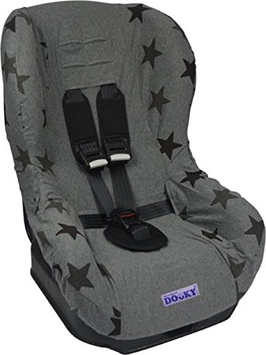 Original DOOKY 2in1 Sitzbezug ** UNIVERSAL Schonbezug f/ür z.B Maxi Cosi TOBI und Sitze der Gr 1 ** GREY STARS **