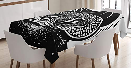 Ambesonne Dragon Tablecloth, Shadded Skin Dragon Curled up Under Long Wings Digital Sketch Illustration, Dining Room Kitchen Rectangular Table Cover, 52 W X 70 L Inches, Black and White