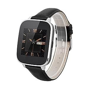 Zeblaze Crystal - Smartwatch Android con Bluetooth (Impermeable IP65, Antirobo, Podómetro, Correa Ajustable de Cuero) Negro