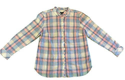 Talbots Women's Plaid Ruffled-Collar Shirt Large Pink ()