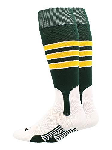 MadSportsStuff Baseball Stirrup Socks 3 Stripe (Dark Green/Gold/White, Small)