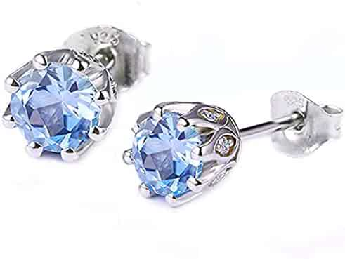 68aeb7a49 Sterling Silver Birthstone Round Cubic Zirconia Earrings Stud  Hypoallergenic for Girls
