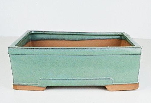 Cheap Medium 8.25″ Glazed Aqua Rectangular Flat and Shallow Yixing Bonsai Pot (CN23-2)