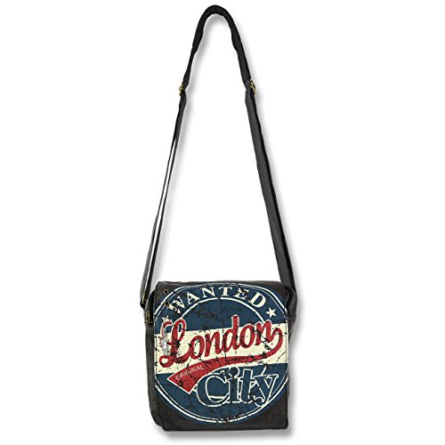 canvas di rot 23x23x8 Ruth Grigio Grigio ueberschlagtasche Robin London Style o wanted Scuro tela Big Alex blau HUxfn