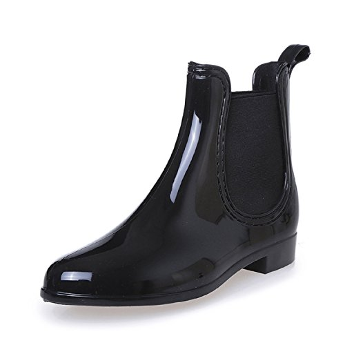 Rioneo Women's Rain Chelsea Boots Waterproof Fashion Elastic Slip On Short Ankle Boot Black Blue Red Black SeLF2M